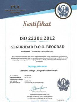 Seguridad Sertifikat iso 22301