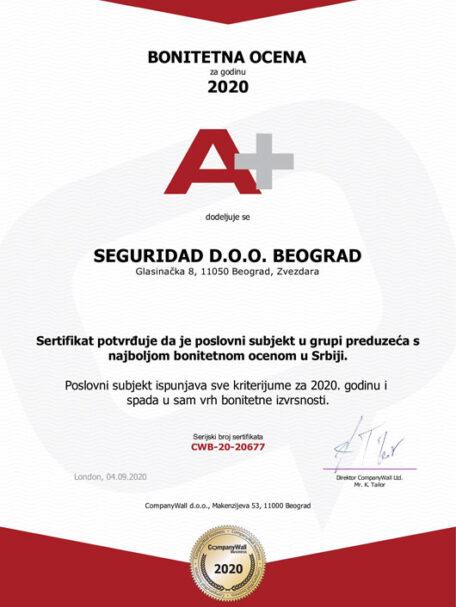 Bonitetna ocena A+ Detektivska agencija Seguridad Beograd